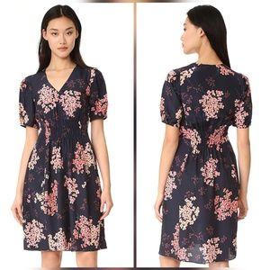Rebecca Taylor Phlox Silk Floral Print Navy Dress